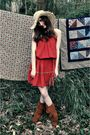 Orange-vintage-dress-beige-alloy-hat-brown-minnetonka-moccasins-boots-brow