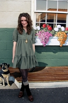 green American Rag dress - brown free people tights - green boyfriends socks - b