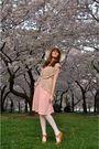 Pink-vintage-dress-beige-wet-seal-sweater-white-calvin-klein-belt-white-vi
