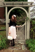 black Macys shirt - black thrifted shoes - white modcloth purse