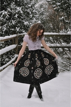 black vintage skirt - black Duo boots - red Libertine for Target shirt