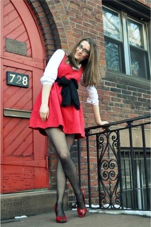 red Anthropologie dress - white vintage blouse - black Macys scarf - red Worthin