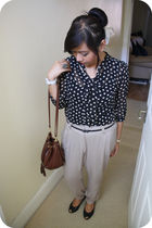 black Primark shirt - brown Peacocks pants - brown H&M bag - black Topshop shoes