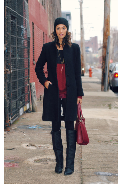 Via Spiga jacket - black Jeffrey Campbell boots - brick red Now I Style sweater