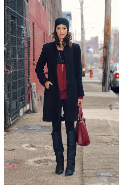 Via Spiga jacket - black Jeffrey Campbell boots - brick red Now I Style sweater
