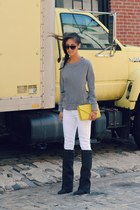heather gray stray heart sweatshirt - black Jeffrey Campbell boots