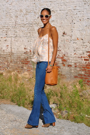 tangerine nyc top - zadig and voltaire boots - mother jeans - baggu bag