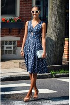navy eShakti dress - aquamarine ted baker bag