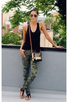 black t by alexander wang top - army green Tripp NYC jeans - gray botkier bag