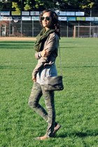 silver ray-ban sunglasses - olive green Tripp NYC jeans - tan Muubaa jacket