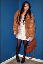 brown vintage jacket - silver BB Dakota dress - black merona tights - black Chri