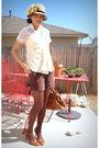 Beige-hats-in-the-belfry-hat-brown-jc-pennys-shorts-brown-isaac-mizrahi-shoe