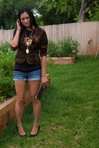forever 21 shorts - vintage t-shirt - walmart blouse - Charlotte Ruse necklace -
