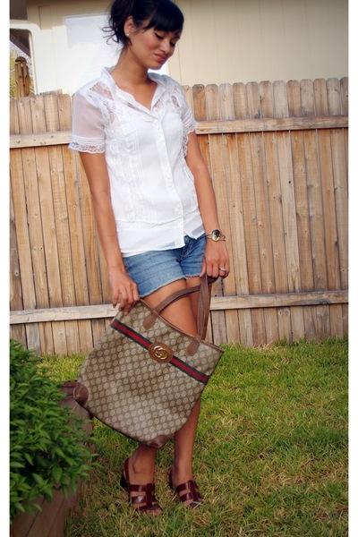 blouse - Old Navy top - Billabong shorts - Joan and David shoes - Gucci purse -