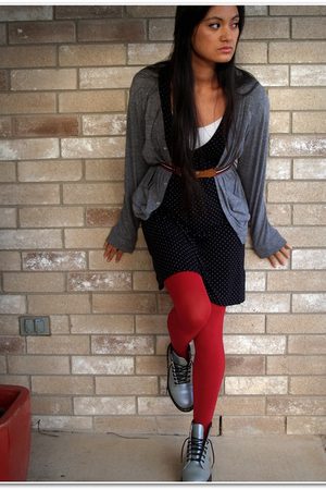 gray American Apparel cardigan - black Gap dress - red We Love Colors tights - s