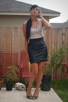 wilsons leather skirt - calvin klein top - Victoria Spencer shoes - objects foun