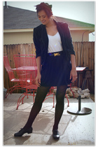 black Wet Seal blazer - black American Apparel skirt - black Target tights - bla