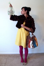 Karta dress - Express tights - banana republic jacket - Buffalo Exchange purse -