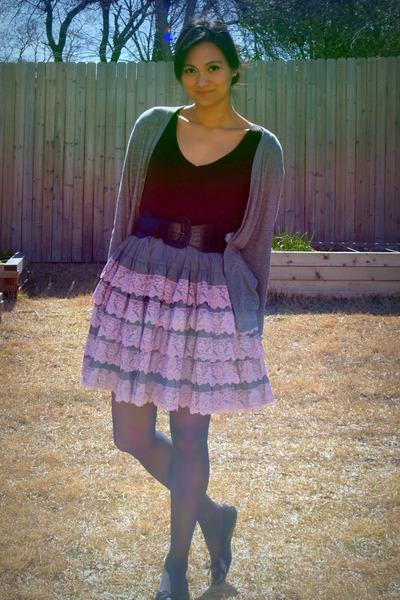 black INC top - purple vintage skirt - gray American Apparel cardigan - black me