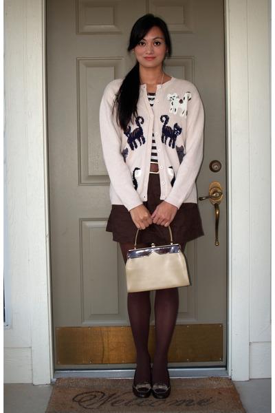 beige no tag cardigan - brown Gap t-shirt - brown Old Navy skirt - brown We Love