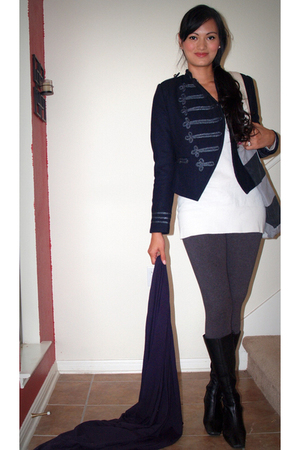 luluscom jacket - DKNY leggings - Wet Seal sweater - Anne Klein boots - American