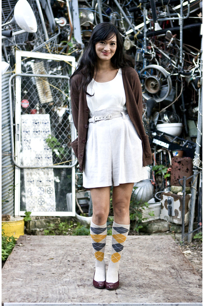 American Apparel sweater - vintage dress - merona socks - vintage shoes