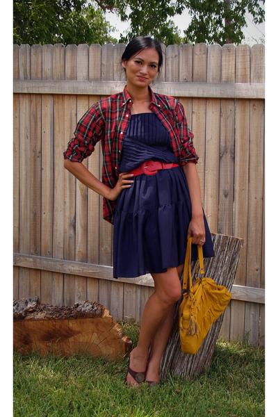 buffalo exchange dress - savers belt - Polo shirt - forever 21 purse - Victoria