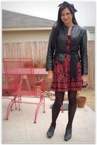 black H&M thrifted dress - black Target tights - black vintage jacket - black An