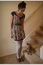 blue luluscom dress - beige savers dress - white Old Navy tights - brown Dexter