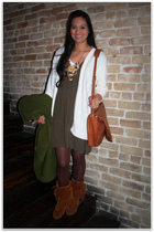 green Forever 21 dress - brown Minnetonka boots - brown xhilaration tights - whi