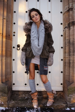 green River Island coat - gray hollister cardigan - beige vivienne westwood boot