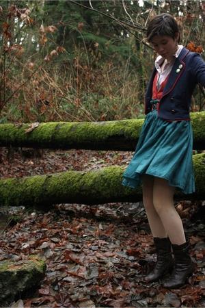 blue H&M blazer - green thrifted skirt - beige Forever 21 tights - orange Foreve