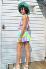 Light-blue-retro-skirt-aquamarine-hat-periwinkle-sheer-sandals