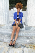 white dress - blue blazer - black heels