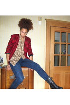 black shoes - blue jeans - red blazer - tan blouse