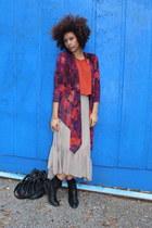 beige skirt - magenta cardigan - burnt orange top