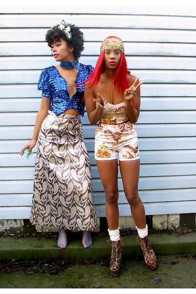 light pink skirt - blue top