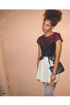 brick red top - aquamarine skirt - black bra