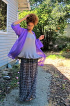 light purple cardigan - heather gray sweater - gray skirt