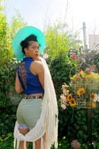 blue top - aquamarine hat - light blue shorts