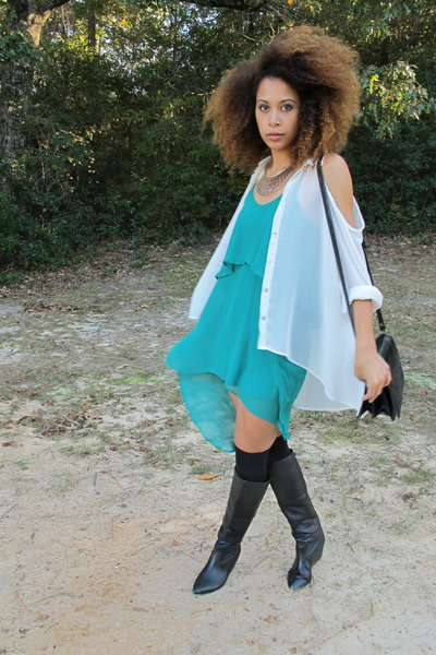 turquoise blue dress - black boots - white shirt