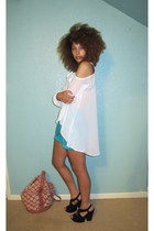 white blouse - turquoise blue shorts - black sandals