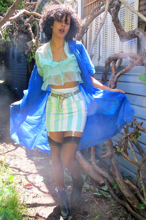 aquamarine sheer shirt - blue sheer cardigan - white striped skirt