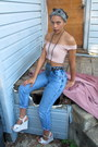 Light-blue-acid-washed-jeans-pink-suede-jacket-light-pink-cropped-top