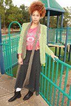 black skirt - lime green jacket - red sweater