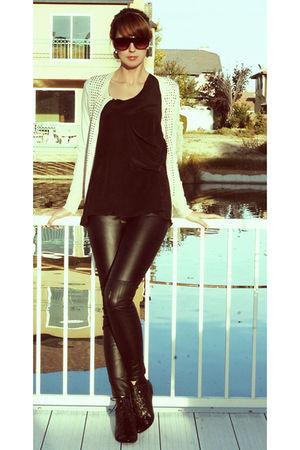 black Forever 21 pants - black Olivia Olivia top - pink Jcrew cardigan - black A