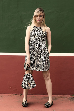 knitted cardigan - Zara dress - sammydress bag - dockside shoes flats