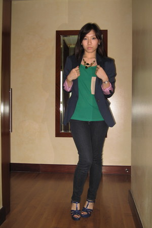 Gap jeans - Zara blazer - blouse - YSL heels - accessories