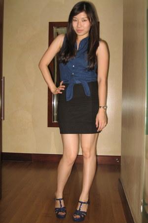 navy Topshop blouse - black Topshop skirt - navy YSL heels