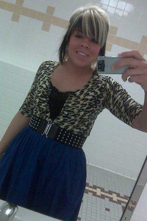 blue H&M skirt - brown sweater - black top - black belt